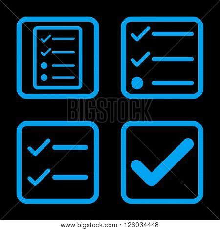 Valid vector icon. Image style is a flat icon symbol inside a square rounded frame, blue color, black background.