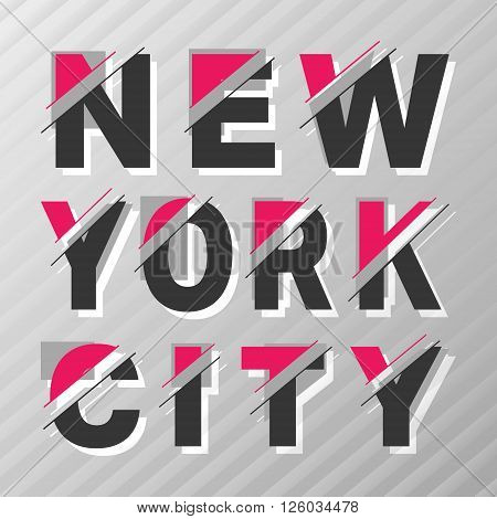 New York city vintage poster t-shirt print. Grayscale stripes abstract background. Vector illustration.