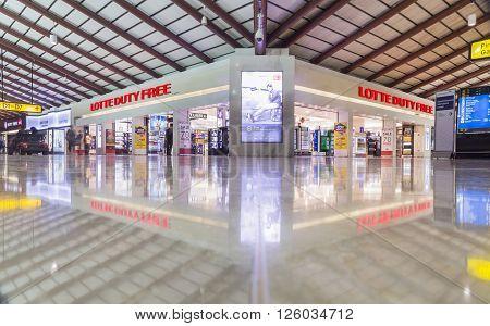 JAKARTA INDONESIA APRIL 5 2016: Interior Jakarta (Soekarno-Hatta) International Airport is the main airport serving the greater Jakarta area on the island of Java