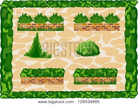 Elements of landscape decor at the background paving slabs. Frame of greenery.  Vector. Horizontal.
