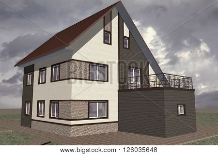 3D Illustration residential private house a small modest architecture