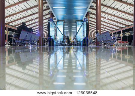 JAKARTA INDONESIA APRIL 5 2016 : Interior Jakarta (Soekarno-Hatta) International Airport is the main airport on the island of Java