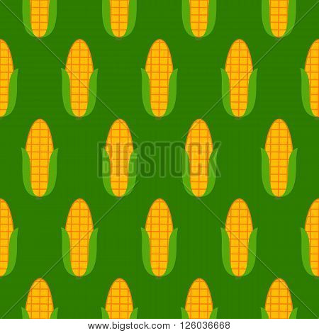Green seamless pattern with corn. Vector illustration of image of corn on a green background.
