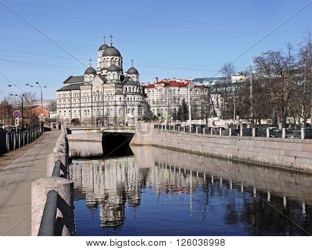 SAINT-PETERSBURG RUSSIA - APRIL 4 2016: Karpovka River and the Convent of Saint John of Rila - largest convent in Saint-Petersburg and the only stauropegic monastery in the region April 4 2016