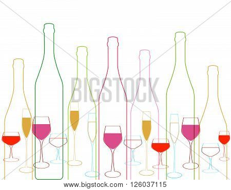 Wine bottle colorful.Background with wine bottles and glasses.Bottles and glass silhouette vector.