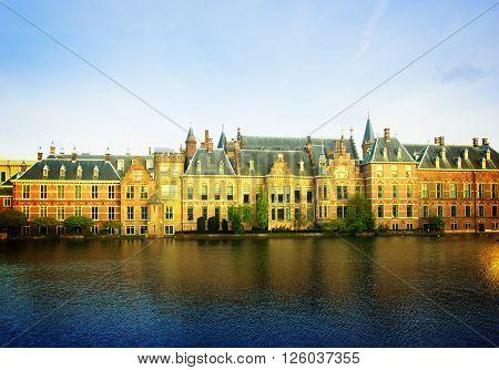 Binnenhof - Dutch Parliament, The Hague Den Haag, Netherlands retro toned