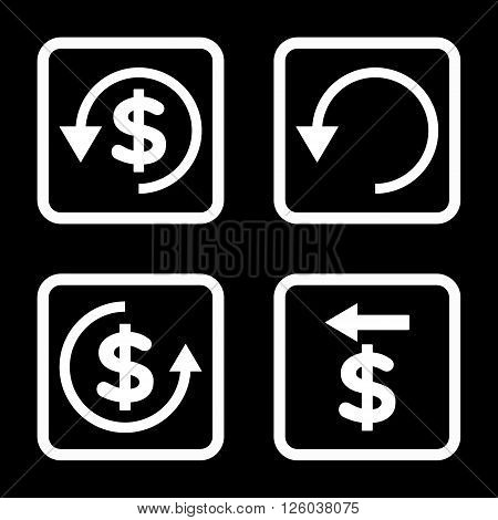 Chargeback vector icon. Image style is a flat icon symbol inside a square rounded frame, white color, black background.