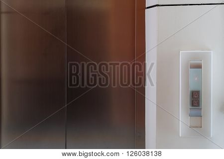 Elevator Button Up And Down, Modern Metal Elevator Close Door In Building Office