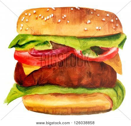 A watercolor drawing of a hamburger with sesame bun lettuce red onion tomato cheese and a large patty hand painted on white background