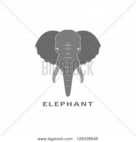 Gray Elephant in flat isolated on white background. Vector illustration