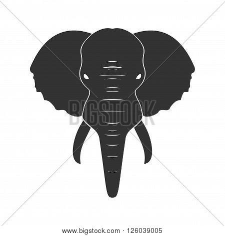Black Elephant in flat isolated on white background. Vector illustration