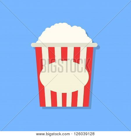 Popcorn box icon in flat design style isolated on blue background with shadow. Cinema Vector illustration