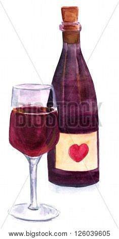 A watercolor glass of wine in front of a corked bottle hand painted on white; there's a heart shape on the bottle label