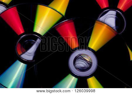 Close Up Reflections And Colors On Compact Discs