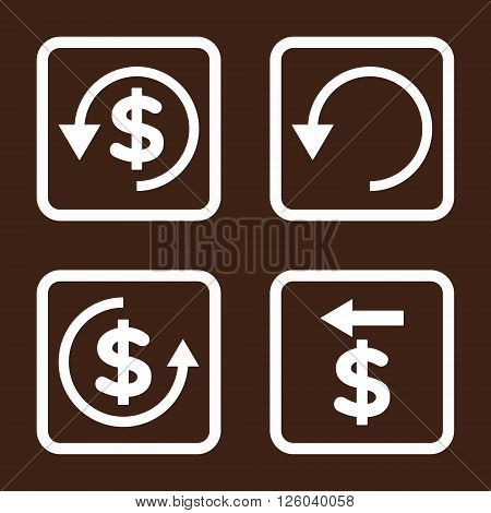 Chargeback vector icon. Image style is a flat icon symbol inside a square rounded frame, white color, brown background.