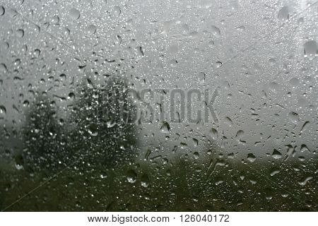 Rain drops and a blurred silhouette of green trees and meadows on the windshield of a car