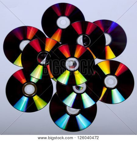 Abstract Reflections And Colors On Compact Discs