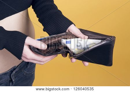 Woman With Her Old Wallet.