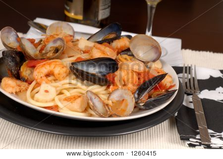 Seafood Pasta Made With Bucatini Pasta