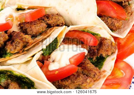 Image of Doner kebab closeup on white background