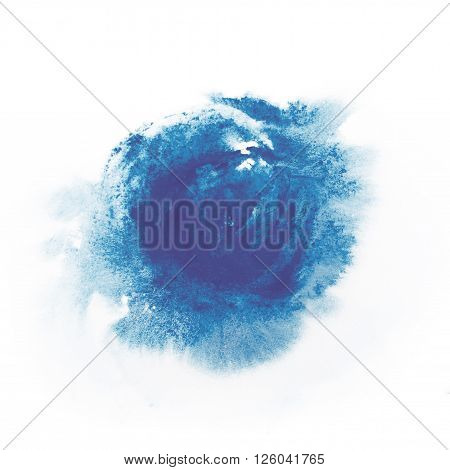 Blue paint watercolor aquarelle stains splatter splashes with rough strokes and edges in grunge style