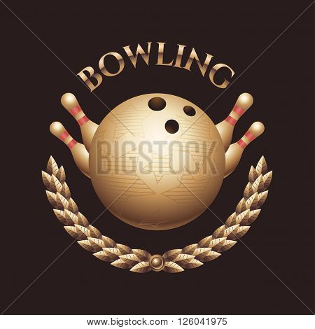 Vector bowling logo. Bowling tournament concept template