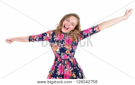 Portrait of crazy young woman shouting to extend hands