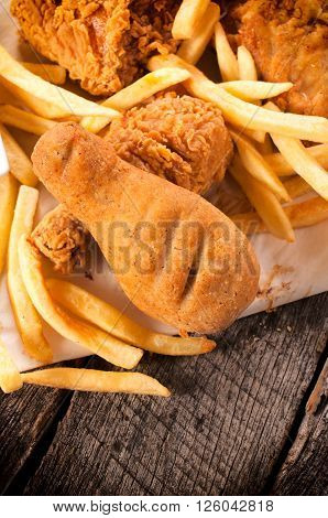 Chicken Legs And French Fries