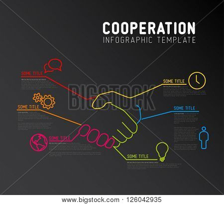 Vector Infographic cooperation report template made from lines and icons with handshake - dark version