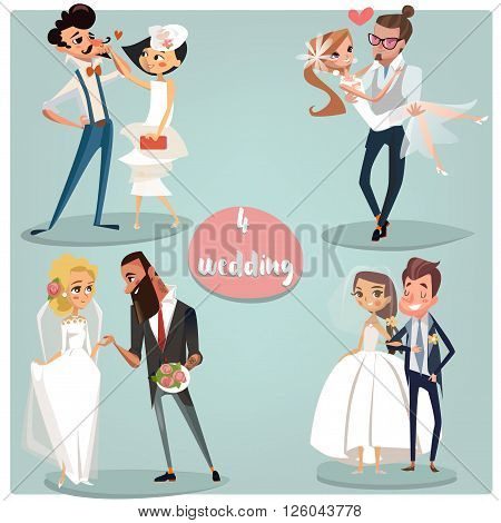 Wedding cartoon set: Brides and grooms couples