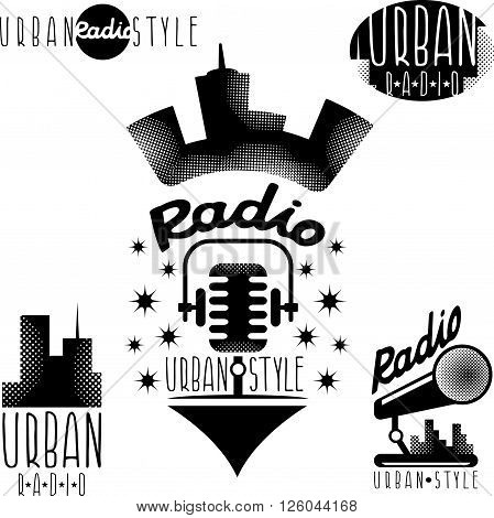 Vintage Labels Of Urban Radio With Microphone And Headphones
