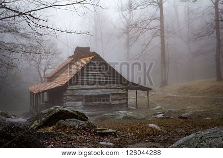 Ogle Farmhouse in the fog , Gatlingburg, Tn. View from east side.