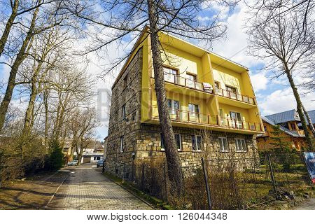 ZAKOPANE POLAND - MARCH 09 2016: Residential building at the housing estate at Zamoyskiego street built in the years 1952-1953 by the project of J. Dajewski