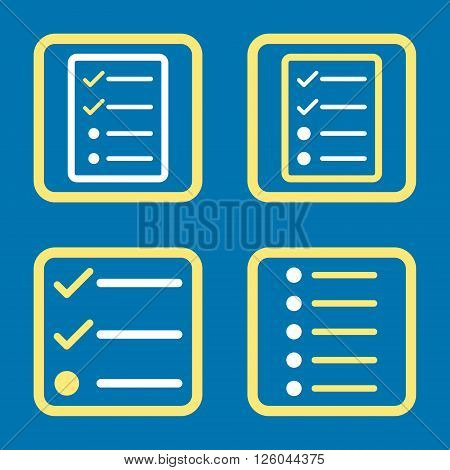 List Items vector bicolor icon. Image style is a flat icon symbol inside a square rounded frame, yellow and white colors, blue background.