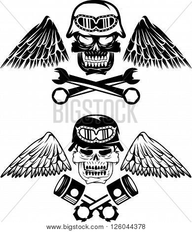 Biker Theme Label With Pistons ,wrenches And Skulls
