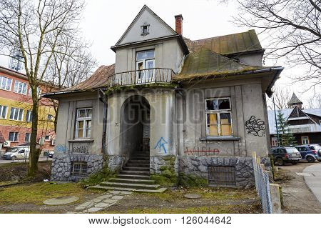 ZAKOPANE POLAND - MARCH 06 2016: Villa made of brick named Monte built in 1925 and designed by K. Stryjenski registered in the municipal register of architectural monument