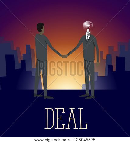 Vector flat business concept deal handshake