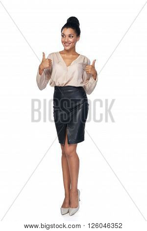 Happy successful mixed race caucasian - african american business woman giving double thumb up and looking away at blank copy space, isolated on white background