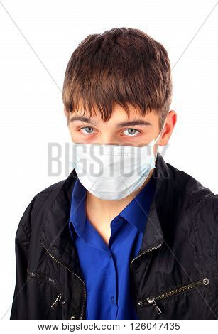 Teenager in Flu Mask Isolated on the White Background