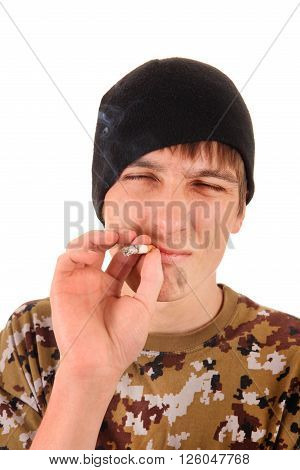 Young Man with Dirty Face and Cigarette Isolated on the White Background