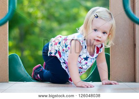 Little Girl Playing on the Slide at the Park
