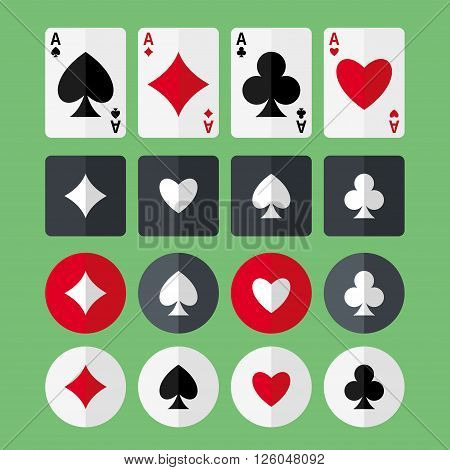 Set of four aces playing cards and four suits flat icons. Heart diamond club spade vector flat icons. Playing cards vector flat icons. Four aces flat icons. EPS8 vector illustration.