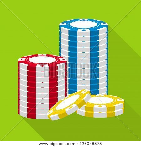 Stack of casino chips vector flat icon. Gambling chips in stack flat vector symbol. Chips for casino games vector flat design. Casino chips stack. EPS8 vector illustration.