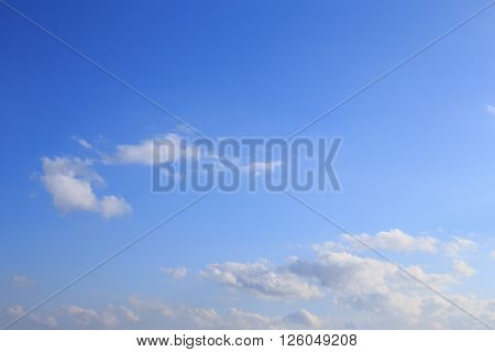 Blue sky with clouds and sunlight behind