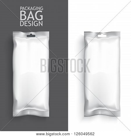 White Blank Foil Food Snack pack For Chips, Spices, Coffee, Salt, and other products. Plastic Pack Template for your design and branding.