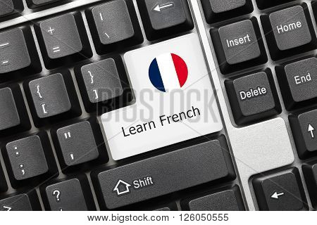 Conceptual Keyboard - Learn French (key With National Flag)
