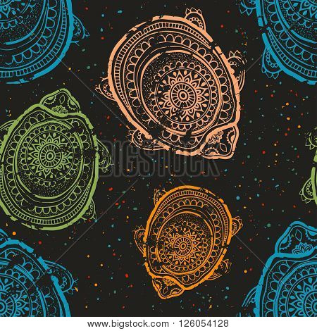 Greeting Beautiful pattern with turtle. Frame of animal made in vector. Etno Style. Turtle Illustration for design, pattern, textiles. Hand drawn map with turtle