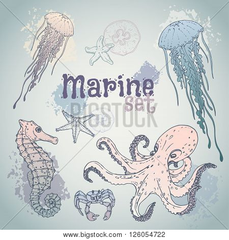 Marine set hand drawn. Marine life in pastel colors. Vector