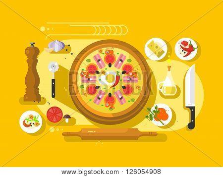 Pizza cooking design flat. Restaurant cooking italian food ingredient, vector illustration