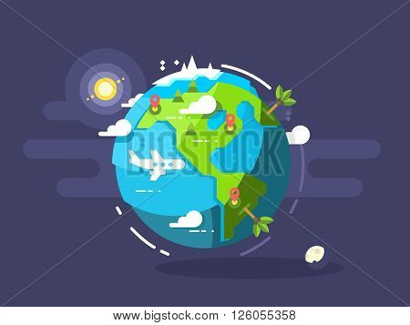 Aircraft flying around the world. Trave airplane globe, earth global trip. Vector illustration